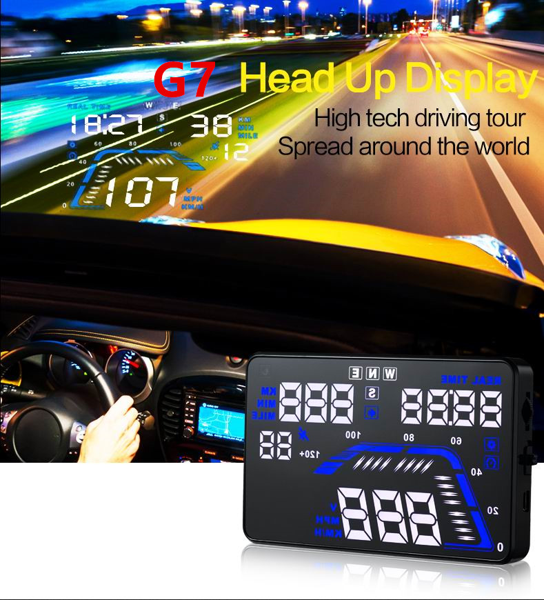 Universal Car GPS HUD Head Up Display Windscreen Projector Car Styling Overspeed Warning Alarm 5.5 Colorful LED Dashboard