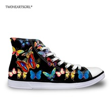 hot deal buy twoheartsgirl pretty women girls butterfly canvas shoes high top ladies casual vulcanize shoes ankle lace up sneaker shoes