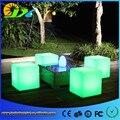 Plástico levou luz ao ar livre indoor cores mudar controle remoto recarregável apple assento mobiliário cadeira para bar
