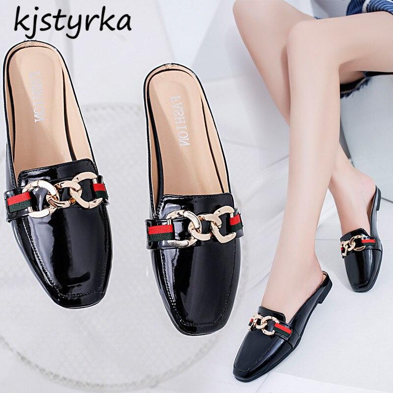 Kjstyrka 2018 Brand designer women mules ladies slides fashion metal loafers shoes Patent leather black shoes zapatos mujer все цены