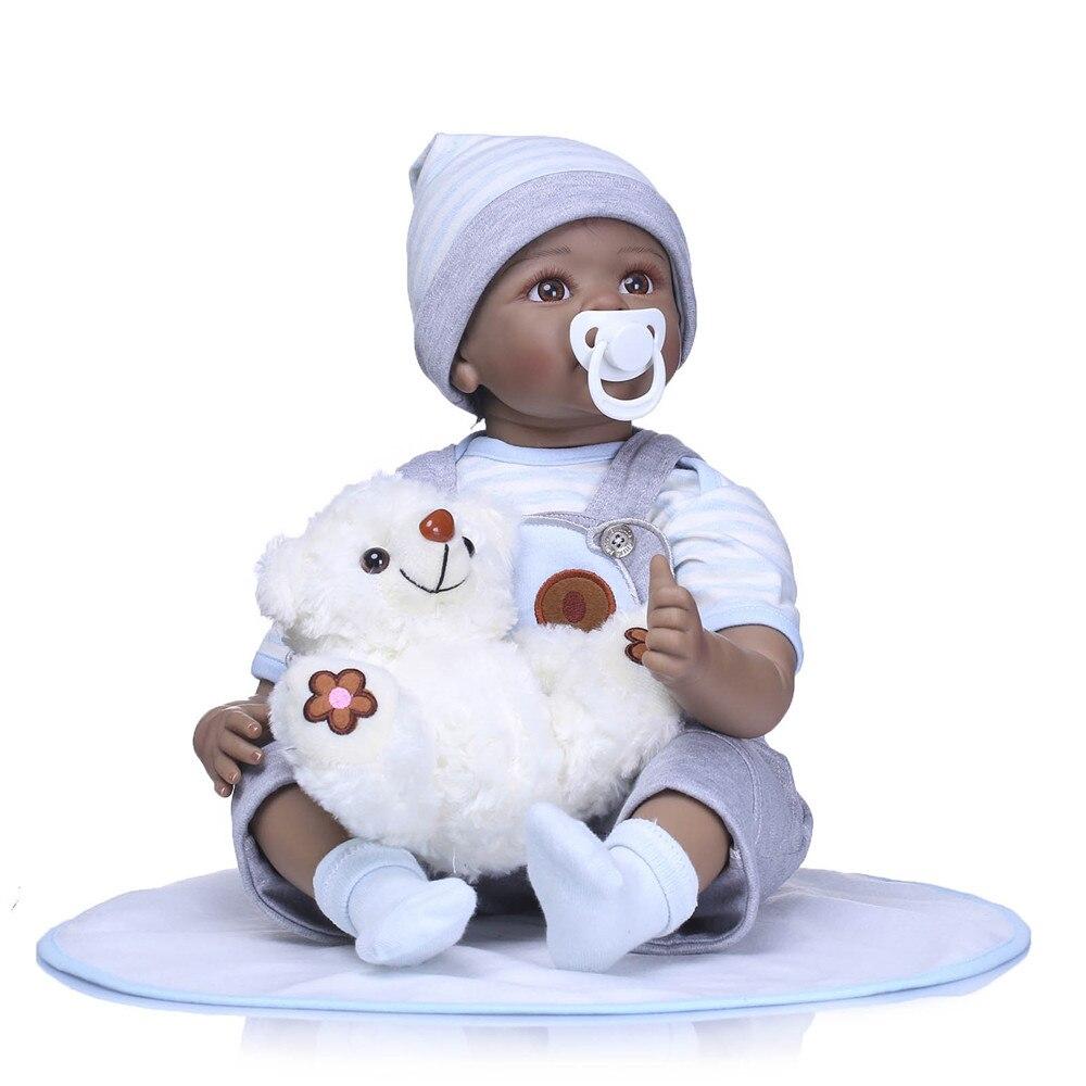 22 pouces peau noire silicone Reborn bébé poupées pour enfants filles meilleur cadeau de poupée d'anniversaire à bébé jouer maison jouets pour enfants