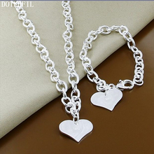 цена на Top Quality 925 Silver Heart Tag Necklace Bracelet For Women Fashion Cute Necklace Bracelet Jewelry Set