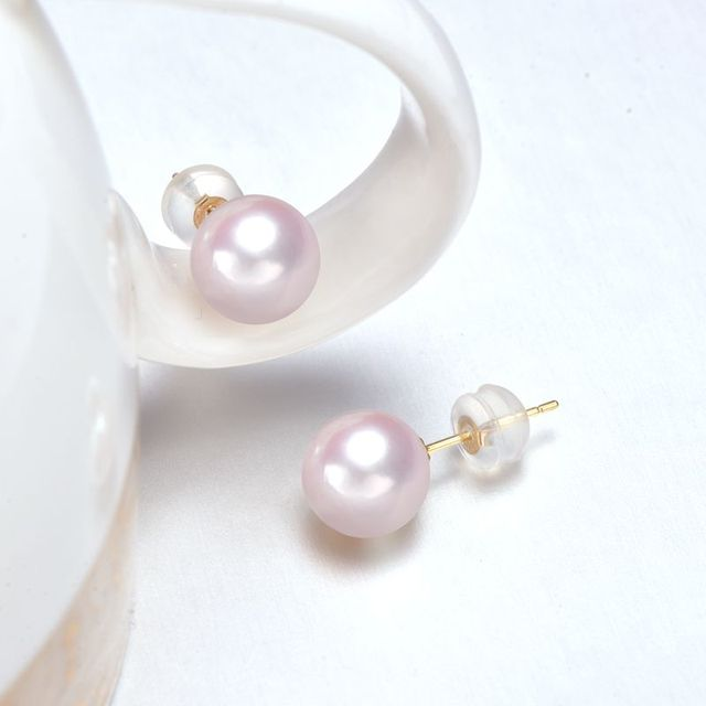 Gold Stud Earrings with 6-9 mm White Japanese Pearl 3