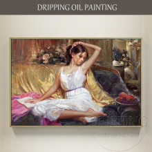 Skilled Artist Hand-painted High Quality Beauty Oil Painting on Canvas Modern Art Picture Lady