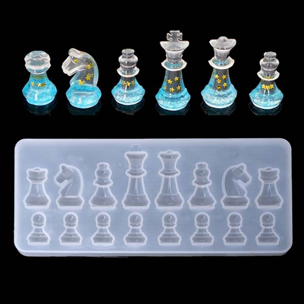 International Chess Shape Silicone Mold Diy Clay Uv Epoxy Resin Mold Pendant Molds For Jewelry
