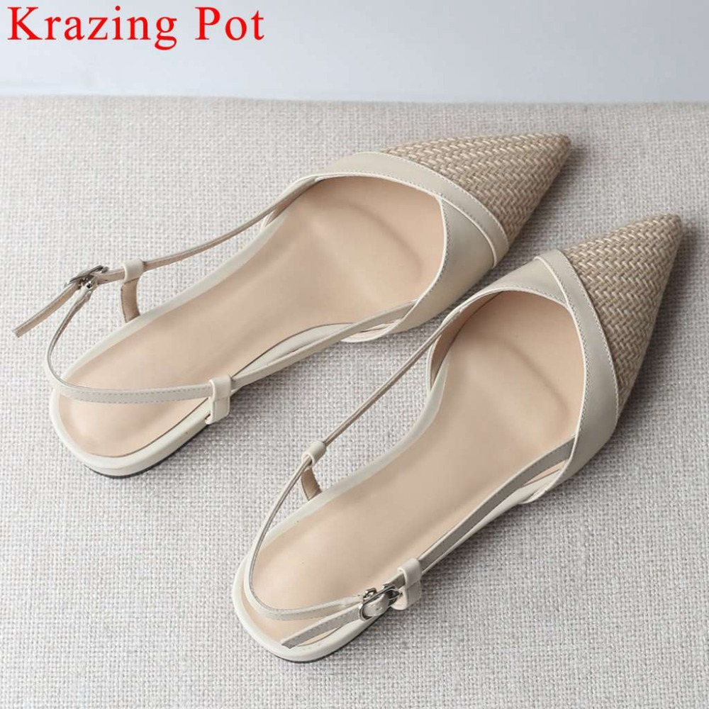 Krazing Pot elegant movie star pointed toe buckle strap slingback women sandals genuine leather patchwork chunky