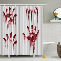 N Halloween Creative Shower Curtain 3D High Definition Digital Print Waterproof Moisture Proof Mold Halloween Bathroom