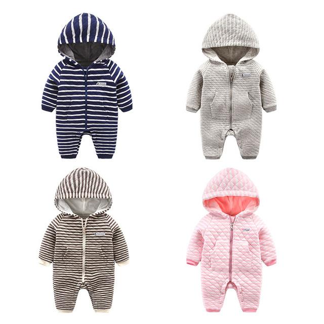 100% algodón bebé recién nacido de doble capa de la raya del mameluco ropa de bebé de invierno