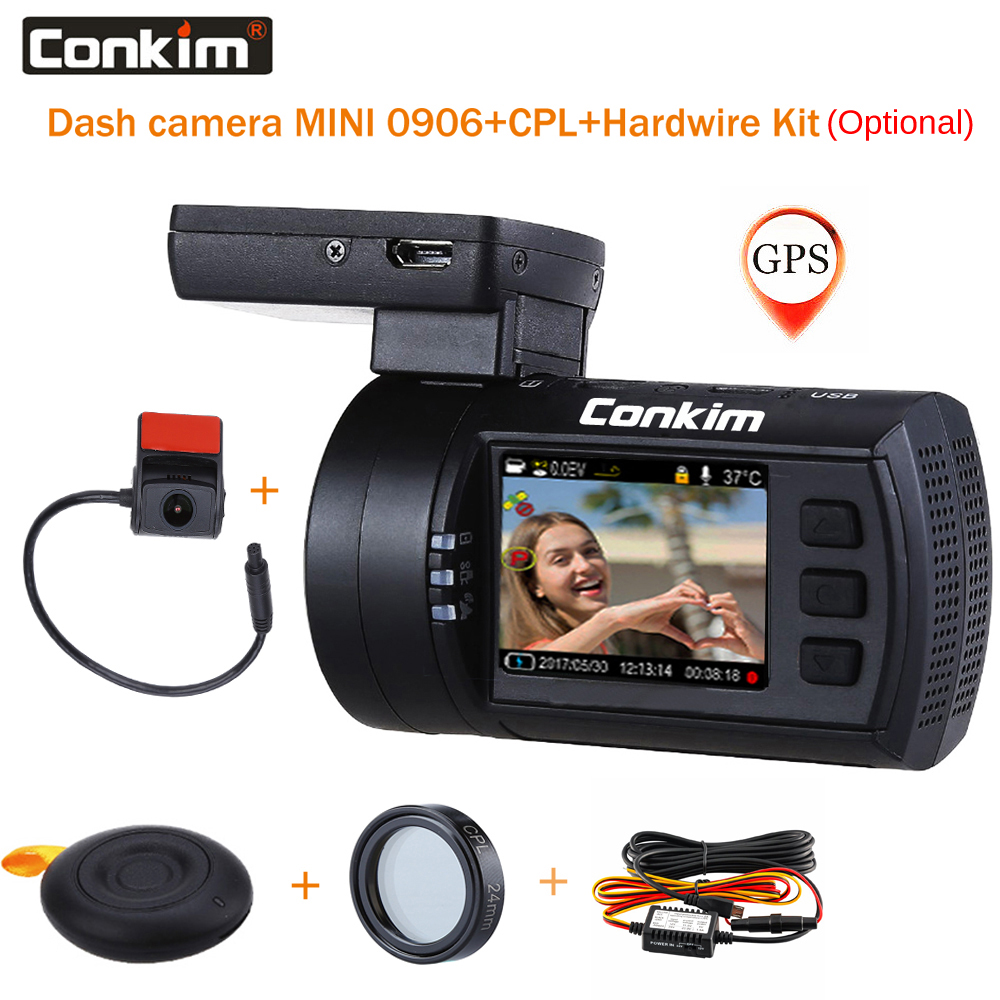 Conkim Dual lens Car Dash Cam Super Capacitor Car DVR Recorder FULL HD1080P Dash Camera GPS CPL Hardwire Mini 0906