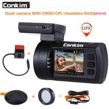 Conkim Dual lens Car Dash Cam Super-Condensatore Auto DVR Recorder FULL HD1080P del Precipitare Della Macchina Fotografica GPS CPL Hardwire Mini 0906