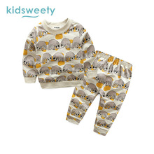 Kidsweety Kids Sets Cartoon Animal Pullover Boys T-Shirt Pants Unisex Child Suits Girls Casual Hoodie Trousers Twinset Kid Sets