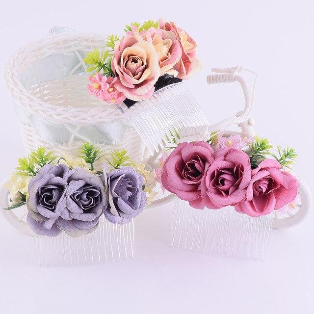 2 26 10 De Reduction Cxajouts Rose Cheveux Peigne Cravates Cheveux Batons Fleur Couronne Mariage Mariee Fleur Epingles A Cheveux Bandeau A La Main