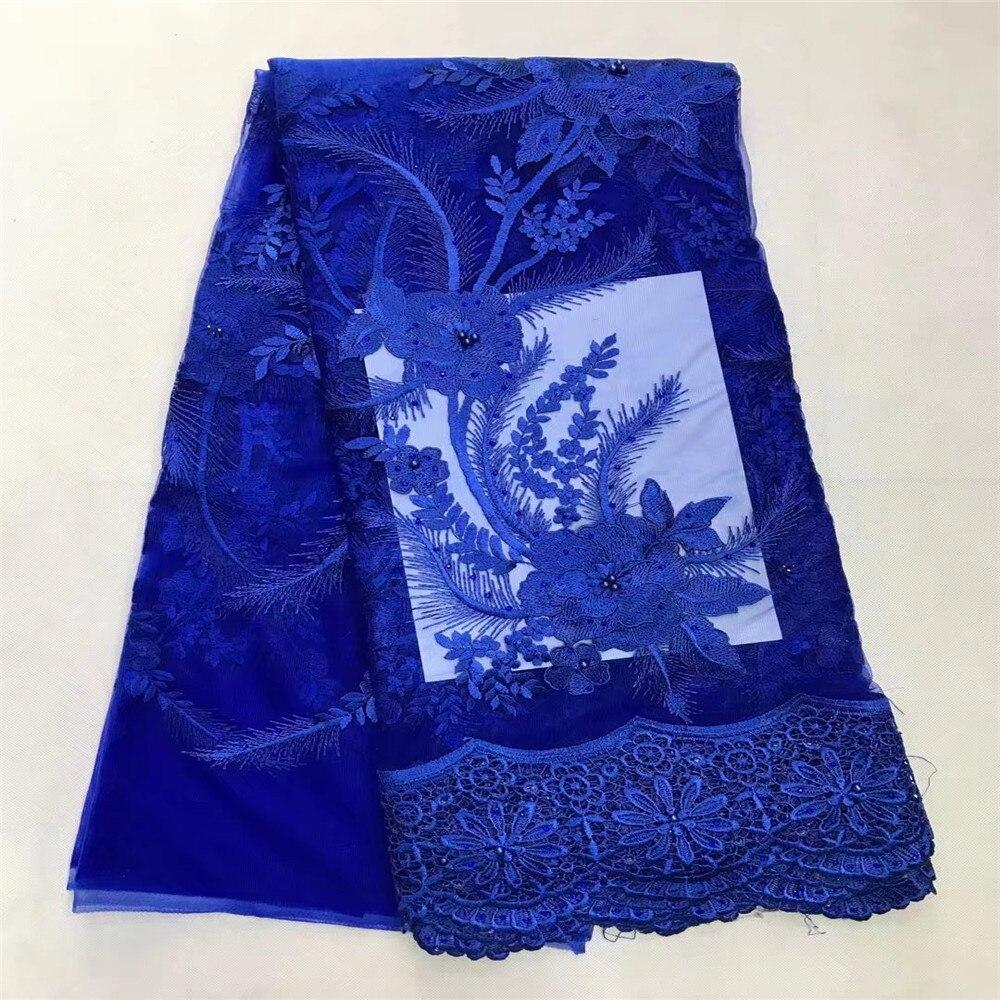 Dentelle africaine de haute qualité/dentelle française/derniers lacets nigérians avec pierres et perles pour robe en B13-1 bleu royal