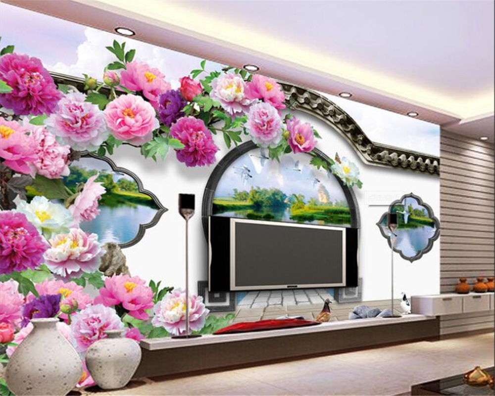popular chinese garden wallpaper buy cheap chinese garden beibehang 3d picture bedroom living room background wall lijiang 3d chinese garden round door peony tv