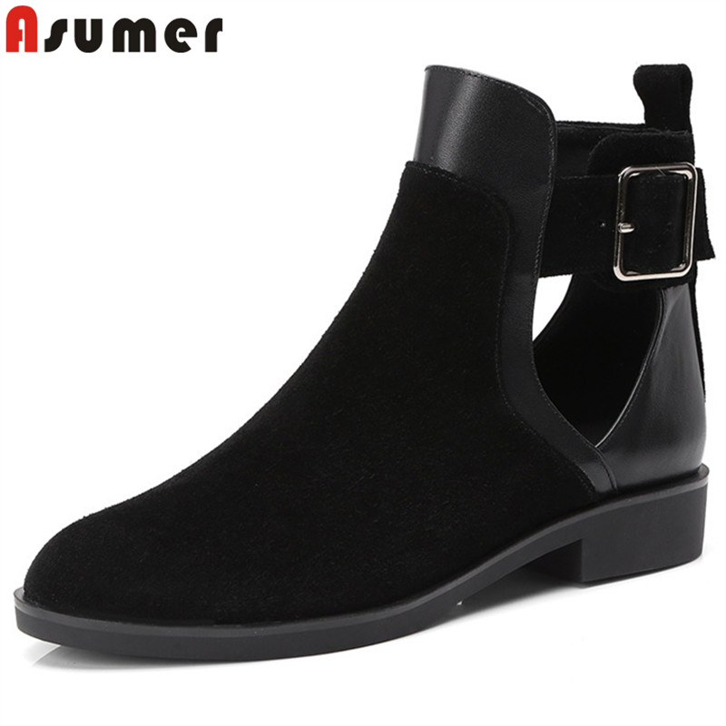 ASUMER black fashion ladies prom shoes woman round toe ankle boots women suede leather boots buckle low heels shoes casual