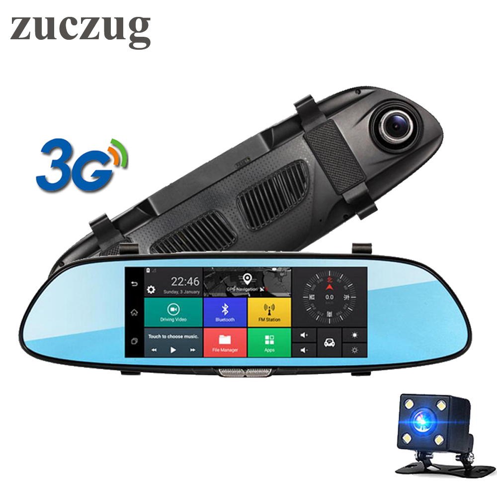 ZUCZUG 7 3G Touch IPS Car DVR Camera Rearview Mirror DVR GPS Bluetooth WIFI Android 5.0 1080p Video Recorder Dash Cam bundled