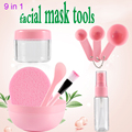 Hot Plastic 9 in 1 DIY Facial Beauty Mask Bowl Women Ladies Cosmetic Tool Mixing Spong Brush with Stick Brush Set High Quality