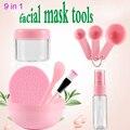Tigela de Plástico quente 9 em 1 DIY Máscara Facial Beauty Mulheres senhoras Cosméticos Ferramenta de Mistura Spong Escova com Escova Vara Set Alta qualidade