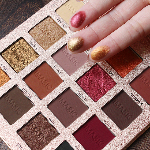 IMAGIC Matte Color Pigments Eyeshadow Palette Waterproof 16 Smoky Color Nude Matte Shimmer Eye Shadow Pallete Makeup