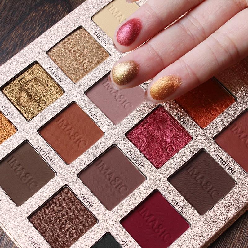 IMAGIC mate pigmentos de Color paleta de sombra de ojos impermeable 16 ahumado Color Nude mate brillo sombra de ojos paleta de maquillaje