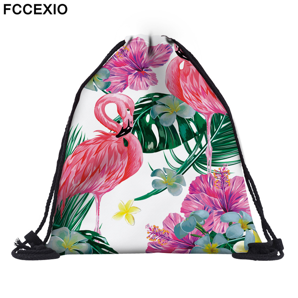 FCCEXIO 18 Colors New Fashion Pink Flamingo Backpack 3D Printed Travel Soft Back  Drawstring Bag School Feminina Girls Backpacks
