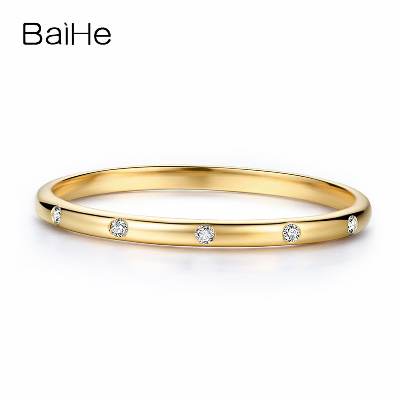 BAIHE Solid 14K Yellow Gold 0.06CT Certified H/SI Round Cut Natural Diamonds Wedding Band Women Trendy Fine Diamond Jewelry Ring