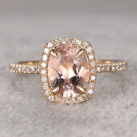 7x9mm Morganite Engagement Ring Yellow Gold Wedding Band 14k Oval Cut Gemstone Promise Bridal Ring Claw