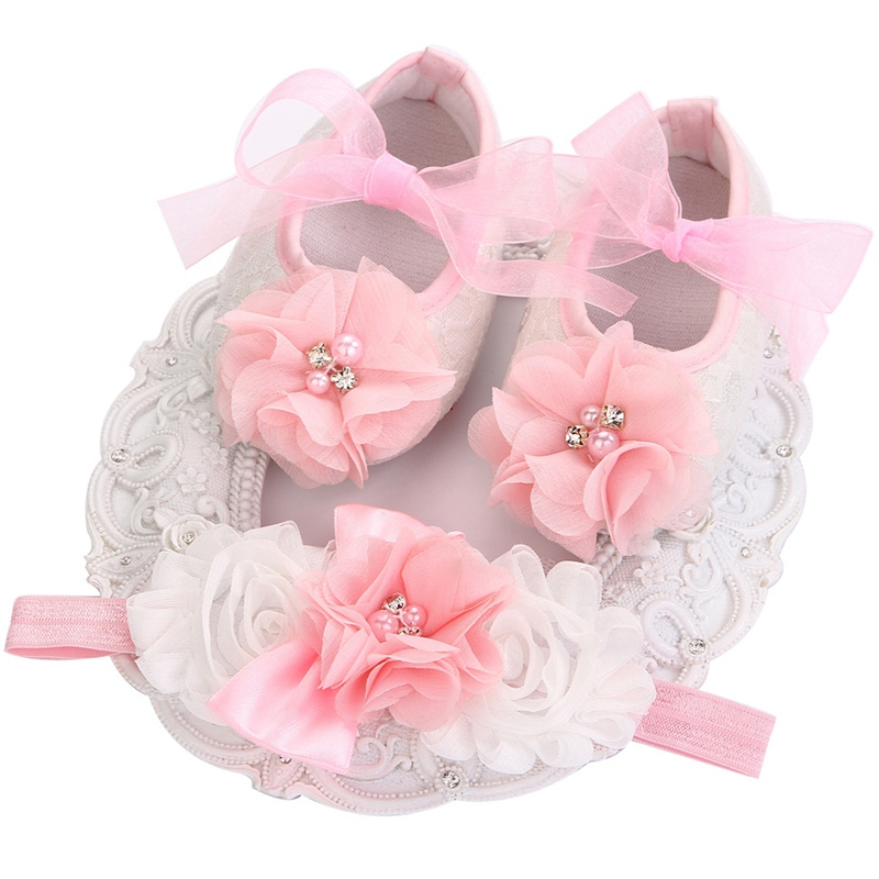 Toddler Shoes Boots Hair-Accessories Flowers First-Walker Newborn Bebe Baby-Girls Infant