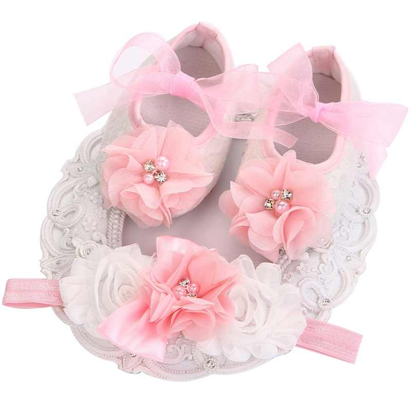 Shabby Flowers Baby Girls shoes Headband Set,Toddler Shoes,Newborn First Walker,Sapato Bebe Menino,Infant Boots Hair Accessories