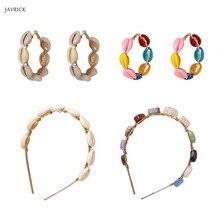 Handmade Summer Sea Conch Shell Hoop Earrings Headwear Women Fashion Jewelry