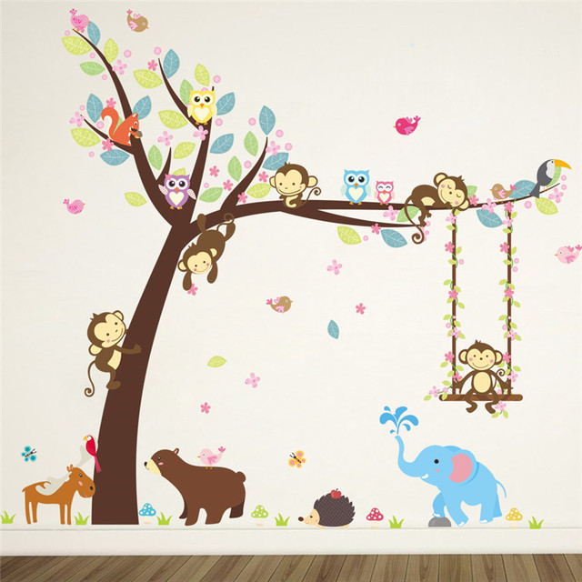 forest animals elephant lion monkey bear tree wall stickers for kids room children wall decal nursery. Interior Design Ideas. Home Design Ideas