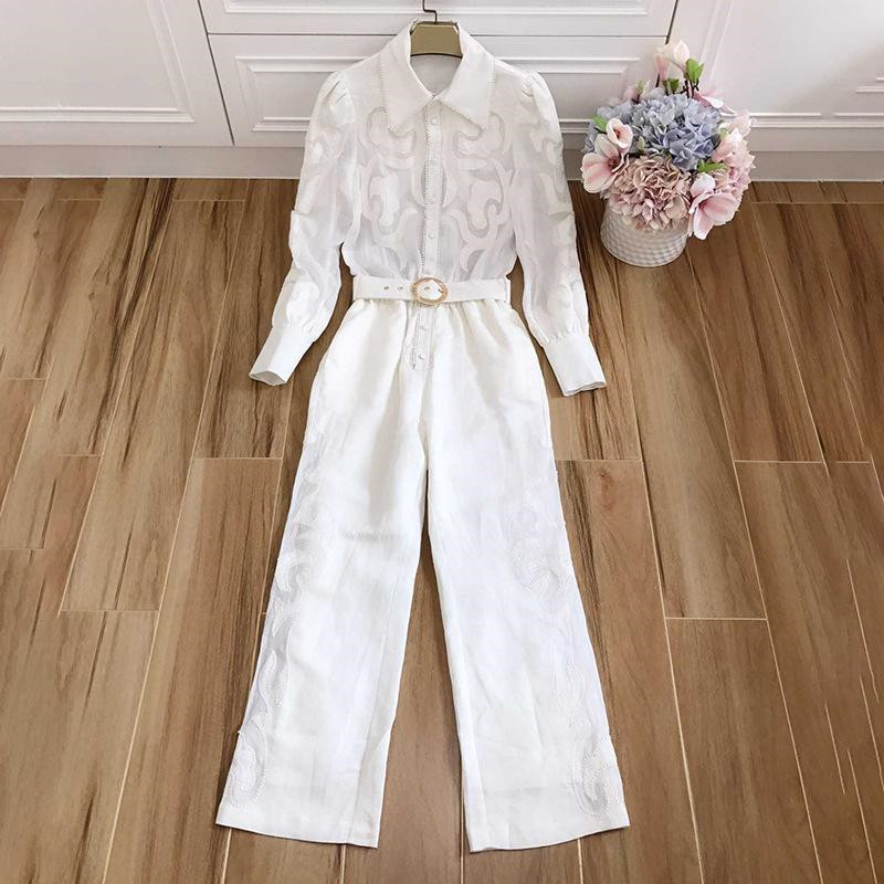 Runway Suit Women's Flare Sleeve Bow Collar embroidery Two Piece Set Top And Pants 2 Piece Set Women Blouses Casual Pants (3)