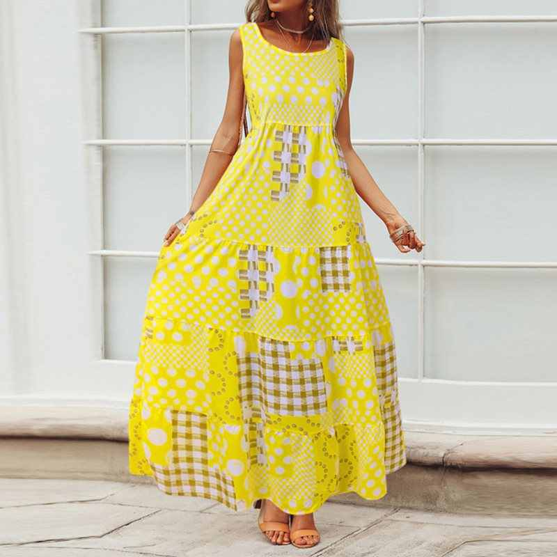 カジュアルマキシドレス女性夏のノースリーブポルカドット自由奔放に生きるブルーファッションホリデーローブヴィンテージビッグスイング黄色プリントロングドレス