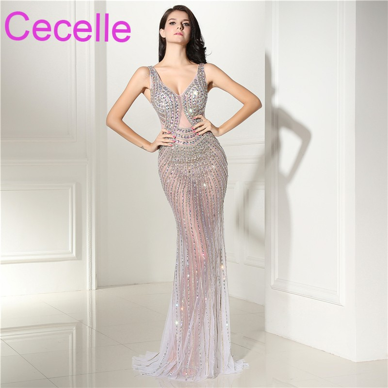 Formal Evening Gowns By Designers: Designer Sexy Mermaid Prom Dresses 2019 Illusion Sparkly