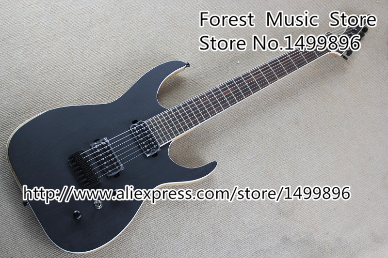 Chinese Matte Black Blackmachine B7 Electric Guitars 7 String Custom Guitar Head & China Ash Guitar Body Free Shipping lp standard electric guitar mahogany body flame maple top custom guitars more color sunburst free shipping