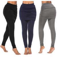 Nouveau pantalon de course mode foulard de tête pour femme pliant côté hanche jupe plissée faux deux pièces mince Sexy jupe Leggings taille haute pantalon