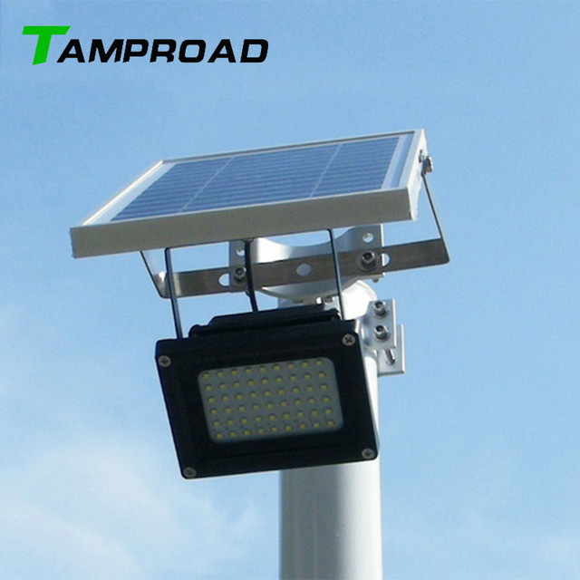 Tamproad Outdoor Waterproof Solar Floodlight 54 Led Spotlight Focused Flag Light With Hardware For