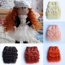 1 PCS Wool Hair Extensions 15cm Hair Wefts Orange Khaki Pink Brown Curly Doll Hair Wigs for BJD/SD DIY Handmande Doll Wigs 1piece 15cm curly wigs hair for doll brown yellow red wine color hair natural color wigs for bjd doll hair