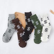 New Design Winter Autumn Novelty Men's Long Socks Money Dollar Patterned Socks Funny Cartoon Cotton Socks