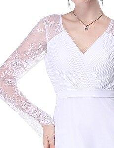 Image 5 - Pretty Illusionแขนยาวชุดแต่งงานลูกไม้สายVคอง่ายชุดเจ้าสาว2020 Vestido Noiva Praia Casamento