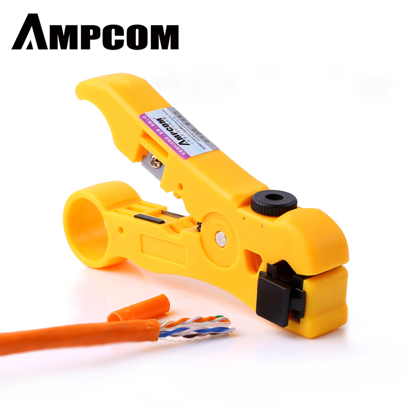 AMPCOM All-In-One Stripping Tool Cable Wire Stripper Compression Tool Coaxial Cable Stripper, Round Cable ,Cutter And Flat Cable