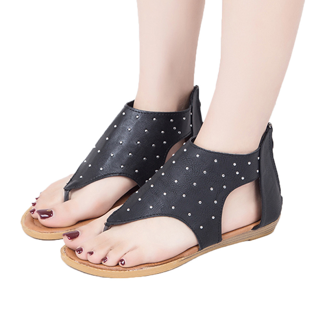 2018 Flat Ankle Zipper Rivet Sandals Ladies Summer Beach Shoes Women High Heels Gladiator Sandles Zapatos Mujer Sandalias
