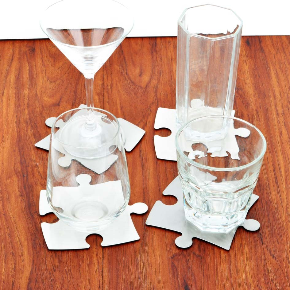 aliexpresscom  buy originality stainless steel puzzle coaster  - aliexpresscom  buy originality stainless steel puzzle coastertrivet setof pcs metallic jigsaw puzzle padsstylish diy puzzle cup mat coaster setfrom