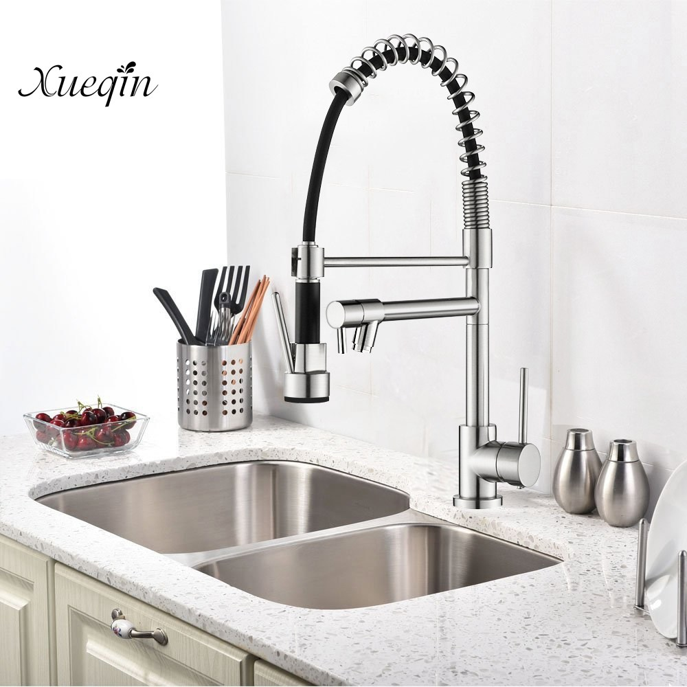 Copper alloy Brass Kitchen Faucet Nickel Pull-down Tap Hot And Cold Water Faucet 360 Degree Water Single Handle Sink Mixer Tap new arrival tall bathroom sink faucet mixer cold and hot kitchen tap single hole water tap kitchen faucet torneira cozinha