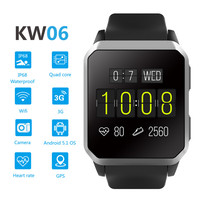 3G smartwatch android KW06 smart watch WIFI GSM WCDMA IP68 waterproof g sensor with nano sim card slot 30w camera Android 5.1