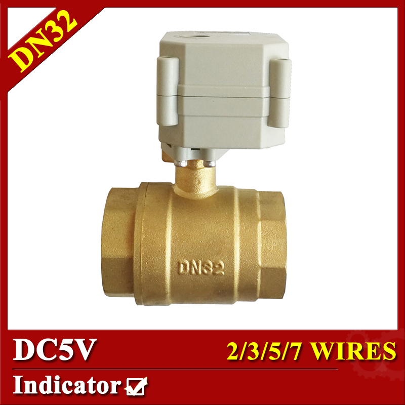 2 way brass 11/4 motorized ball valve with indicator DC5V 2/3/5/7 wires electric shut off valve DN32 Electric Actuated valve 1 1 4 electric valve 2way dn32 brass electric ball valve 5 wires 110v to 230v motorized valve with signal feedback