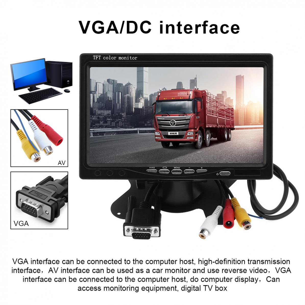 1024x600 7 Inch Multifunction Car Home Monitor Bright Color VGA Interface TFT LCD AV Auto Video