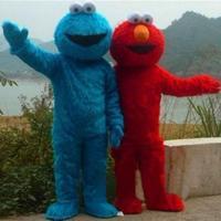 Red Elmo Blue Cookie Monster Mascot Costume High Quality Sesame Street Cartoon Fancy Dress