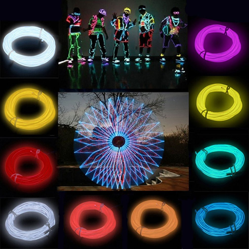 1pcs 3M 10 Colors EL Wire <font><b>Tube</b></font> Rope <font><b>Battery</b></font> Powered Flexible Neon Light Car Party Wedding Decoration With Controller Wholesale