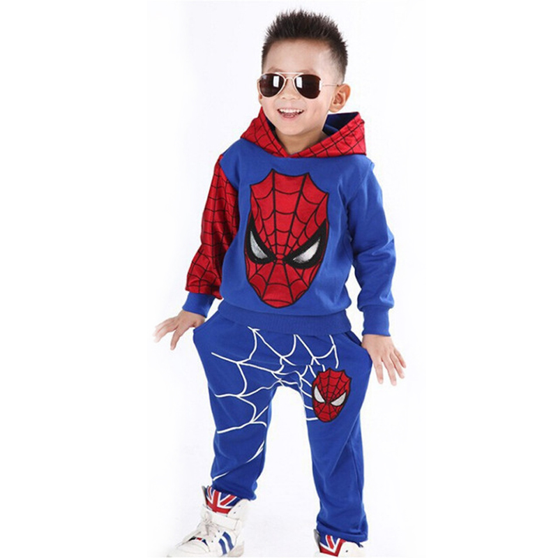 Boys Spiderman Clothing Sets Sport Suit For Boys Spring Cotton Spider Man Cosplay Costumes Kids Suits Children Clothing For 1-6Y